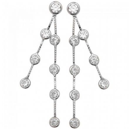 Just Gold Earrings -9Ct Drop Earrings Cz, ES337